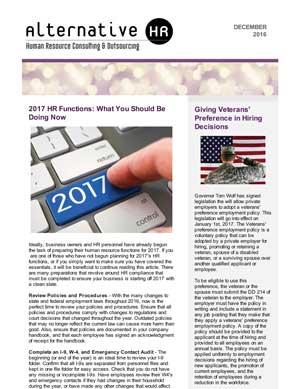 December 2016 HR Newsletter