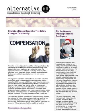 November 2016 HR Newsletter